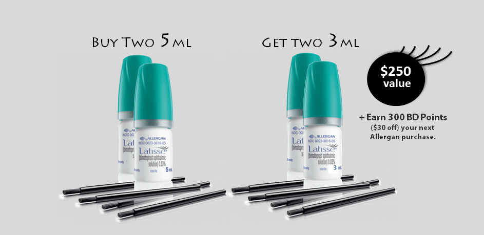 PURCHASE THREE- 5ml LATISSE, Get THREE 3ml LATISSE FREE ($375 Value)!