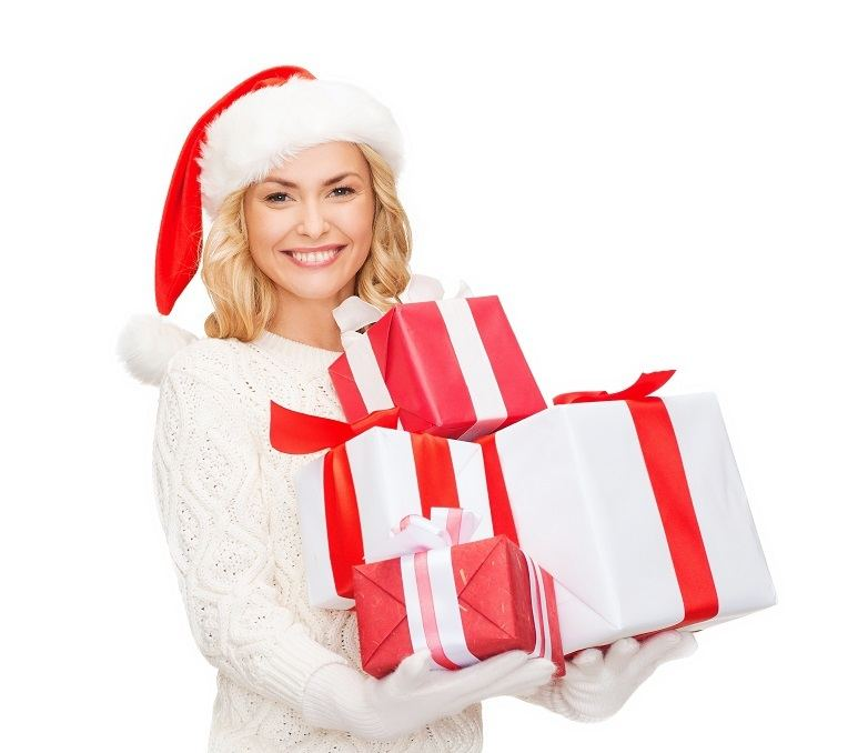 Lady in Santa Hat with presents