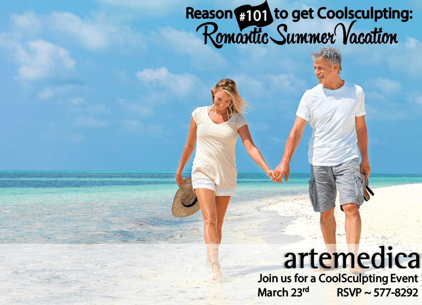 Couple walks along the beach after attending the 2017 Pre-Summer Coolsculpting Event at Artemedica
