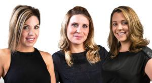 Our three aestheticians standing together. Combined 25 years experience.