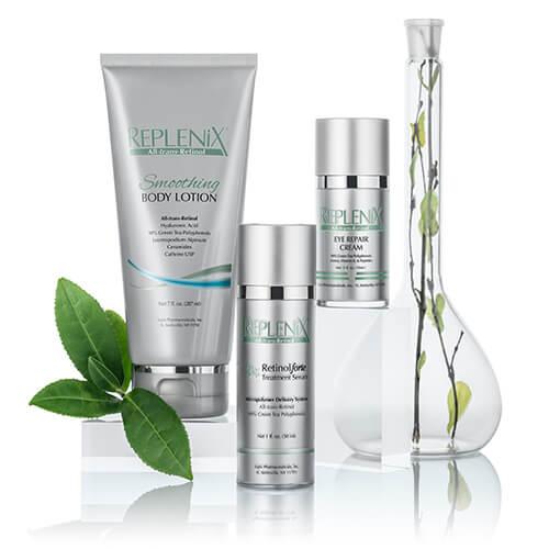 lineup of Replenix skincare including smoothing body lotion, eye repair cream, and retinol treatment serum