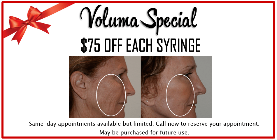 Stop by our 5th Annual Holiday & Peel Event for Juvederm Voluma specials