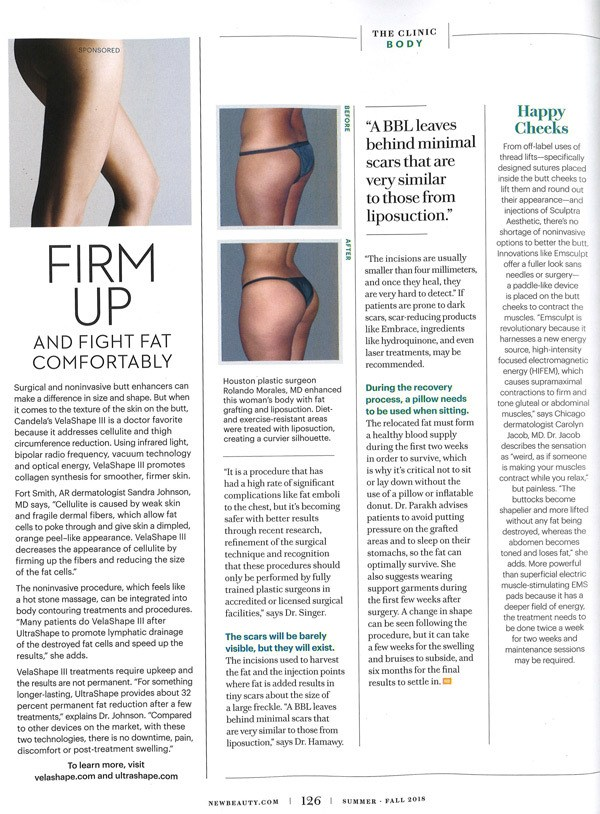 EmSculpt featured in New Beauty magazine 2018.
