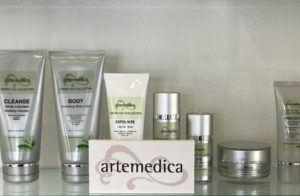 lineup of Artemedica skincare green tea collection