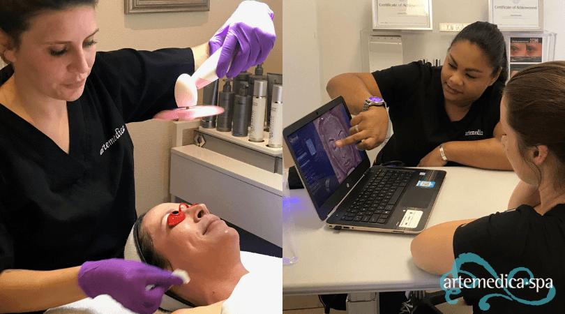 At Artemedica's 2019 Peel & Reveal Event, Aestheticians performing skin imaging procedures.