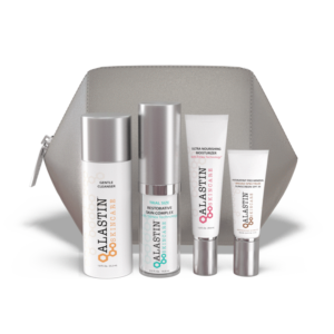 lineup of Alastin skincare including gentle cleanser, restorative skin complex, ultra nourishing moisturizer, and hydratint pro mineral broad spectrum sunscreen SPF 36