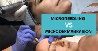 two women receiving microdermabrasion and microneedling skin care treatments at artmedica