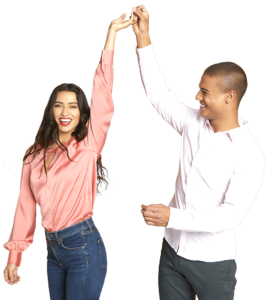 Man and woman celebrate after getting MiraDry at Artemedica's 2019 Lunch & Learn Event