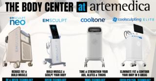 Lineup of different non-invasive treatments such as EmSculpt, EmSculpt Neo, CoolTone, and CoolSculpting Elite