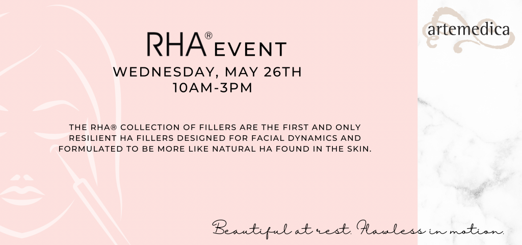 RHA Injectable Filler Event Flyer for Wednesday, May 26th, 2021